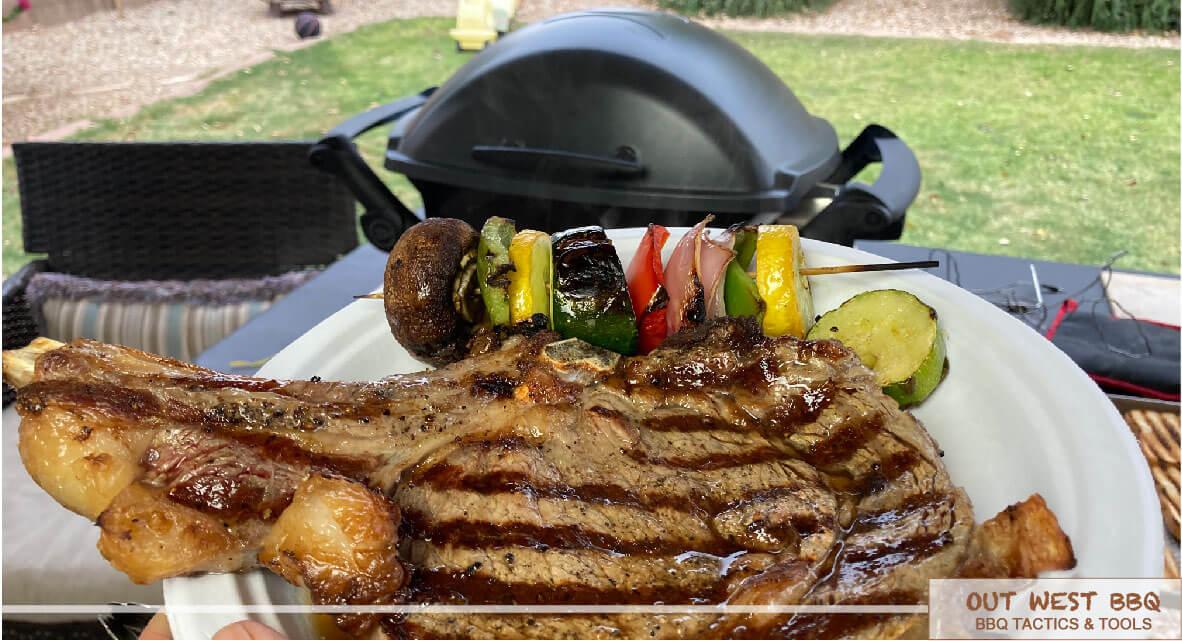steak and vegetables grilled on Weber Q 2400 1